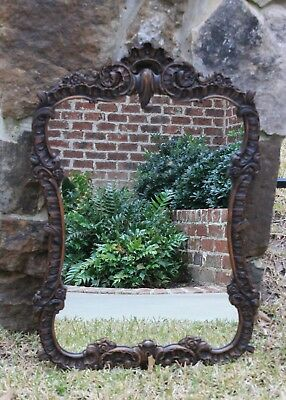 Antique French Country Hand Carved Oak ROCOCO Framed Wall Mirror