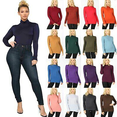 Womens Ladies Plain Turtle Polo Roll Neck Long Sleeve Stretch Jumper T-Shirt Top