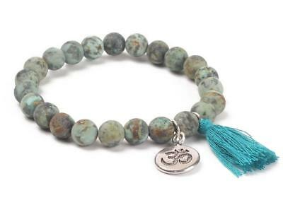 8mm African turquoise bracelet Wrist 7.5inches Gemstone Buddhism Bless Monk