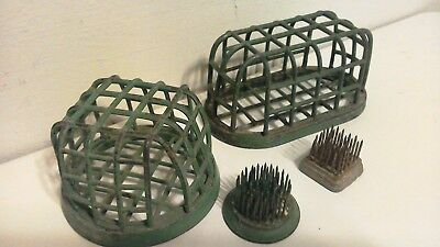 lot of 4 Vintage DAZEY Flower Frog Cast Iron Metal Green Floral Cage Needlesharp