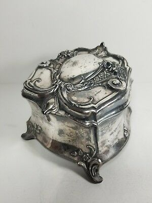 Antique Silverplated Victorian Jewelry Casket Box w Original Lining