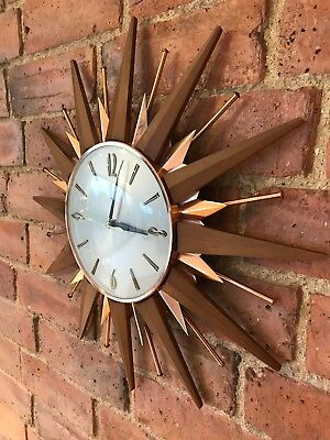 Vintage Metamec Sunburst Wall Clock Copper Teak 1960's 70's Retro Gold England D