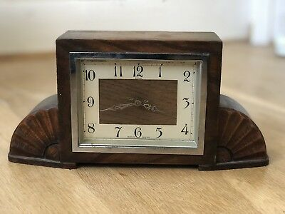 Antique Art Deco Clock- 'Enfield' Made In England. Cleaned & fully working