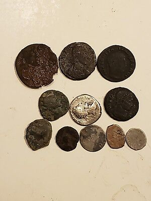 Lot of 10 Ancient ROMAN Coins Collection 200-400 AD Islamic and Roman silver