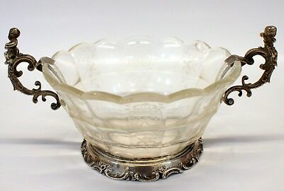 .800 Silver GERMAN Hallmarked GLASS BOWL with SILVER CHERUB HANDLES / HOLDER