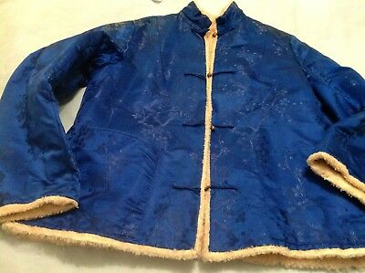 Antique Blue Woven Silk Chinese Winter Jacket Lined Lambskin