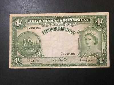 1953 Bahamas Paper Money - 4 Shillings Banknote!