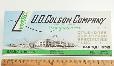 Ink Blotter from U. O. Colson manufacturer of fans calendars Paris Illinois