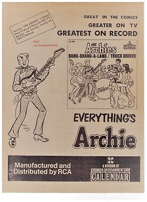 "1968 The Archies ""Bang-Shang-A-Lang"" Song Release Trade Print Advertisement"