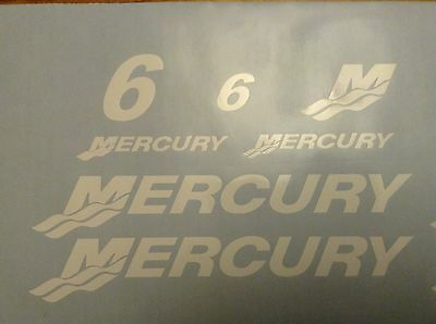 6 Hp Mercury outboard decal set - Boat motor replacement decals