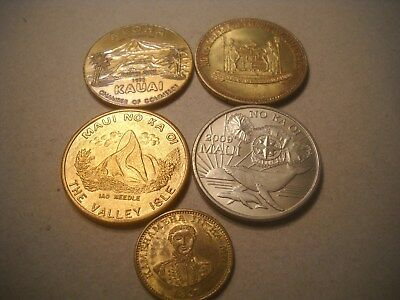 Vintage Hawaii So-Called Dollar Medal Tokens Lot of 5 Maui, Kauai,  Kona,  etc.