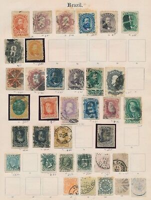 Brazil Stamps 1866-1900 3 Imperial Album Pages, Inc Good Dom Pedro Mint & Used