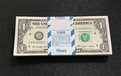 2009 ✯$1 STAR Replacement NOTE One Dollar Bill Consecutive UNC LOW S/N Cleveland