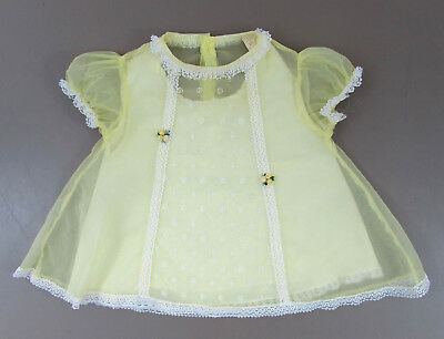 Vintage yellow nylon baby dress with slip - white lace - 1950s-60s