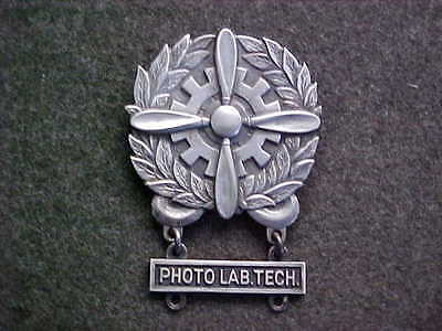 Rare All Sterling Ww2 Us Army Air Corps Badge With Sterling Photo Lab Tech Bar