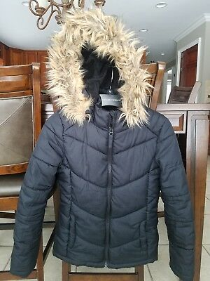 Girls Black Puffer Coat, Size 10/12