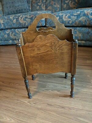 Vintage 2 Section Wood Magazine Newspaper Book Rack Holder With Cutout Design