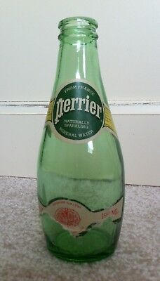 Vintage Perrier Green Glass Water Bottle from France 6 1/2 fluid ounces 195 ml