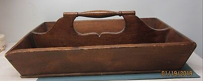 Primitive Antique Wood Utensil Cutlery Tool Carrying BoxTray w Handle Wooden