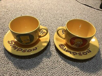 Simpsons - Homer and Bart Simpson Large Coffee Mugs & Saucers - 1997 by Tropico