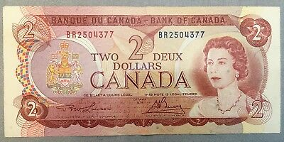 1974 Canada $2 Two Dollar Bill Note BR series