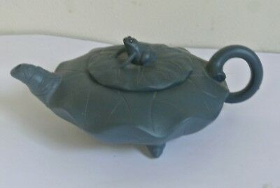 marked China Yixing Zisha TEAL-BLUE teapot - carving frog Gold toad statue