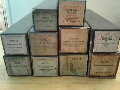 Vintage Player Piano Rolls Lot Of 10 Eighty Eight & More