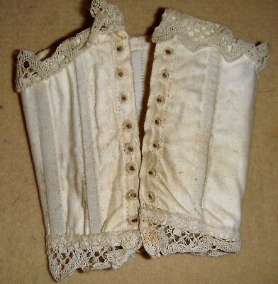 Antique lace edged boned dolls corset for fashion doll