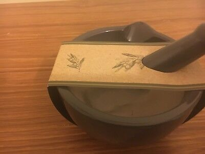 Mortar & Pestle by Olive & Thyme, olive green with cream inside.  Brand new