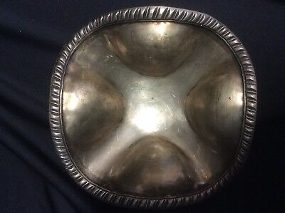 Mexican Sterling Silver Bowl with Four Lobes and Three Applied Cast Feet