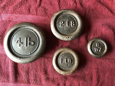 Lot of 4 Antique Vintage Old Cast Iron Scale Weights
