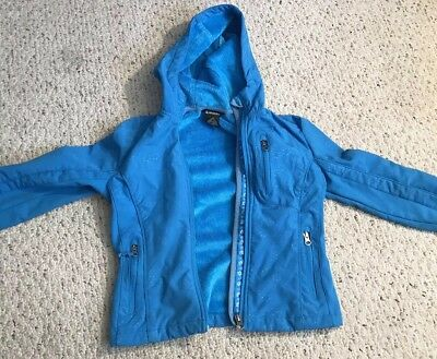 SNOZU Girls Blue Floral Zip Up Hooded Jacket insulated Snow Coat Size Small 7/8