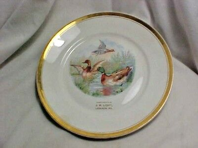 Vintage Advertising Plate - Compliments J W Light Lebanon PA Gold Trim Ducks