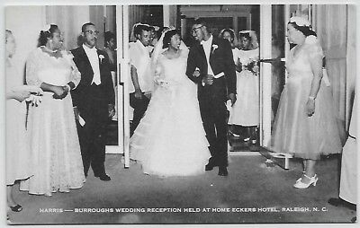 Rare Black Americana card African-American wedding Home Eckers Hotel Raleigh NC
