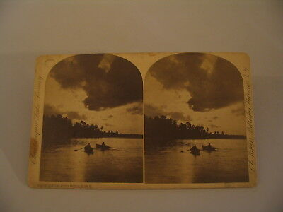 Chautauqua Lake New York LE Walker Stereoview Photo cdii Rowboats
