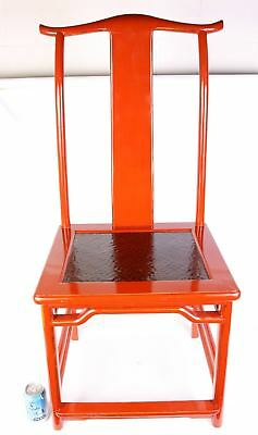 "Set of 6 Chairs - Antique Chinese Red Lacquered Wood Chairs 43""t"