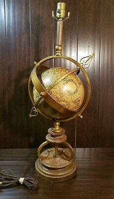 Vintage Old World Map Italian Globe Lamp Gold