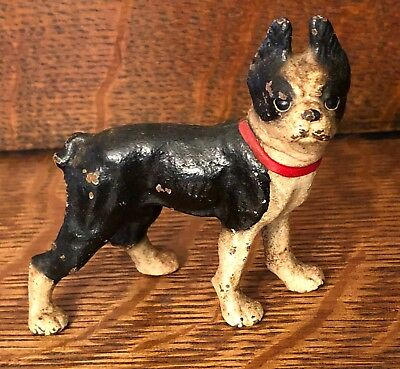 Antique Miniature Cast Iron Doorstop Boston Terrier Great Original Paint