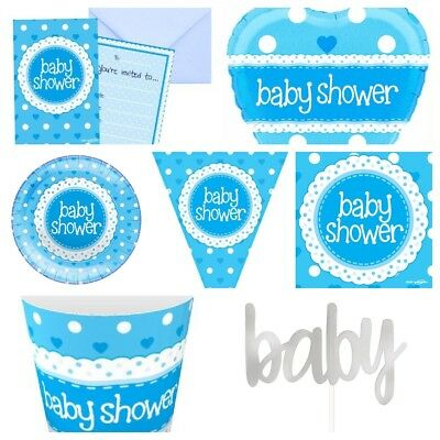 Blue Dot Boys Baby Shower Party Range - Plates,Cups,Napkins,Banners,Table Covers