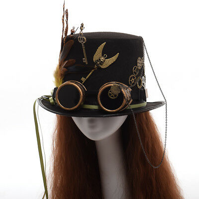 Steam Punk Gothic Vintage Hat Gear Feather GlassesParty Fedora Top Hat