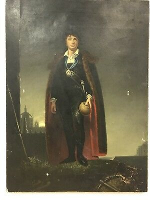 Interesting Antique 19th Century oil painting on canvas portrait of a gentleman