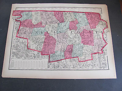 1871 Franklin County Massachuetts Atlas Map Hand Colored