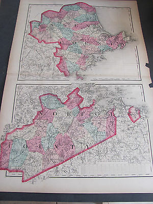 1871 Essex and Norfolk County, Massachuetts Atlas Map Hand Colored