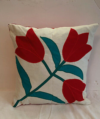 Vintage Tulip Applique Pillow White Red Green Quilted 16''sq Great Condition