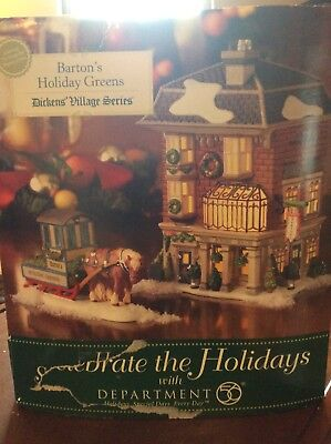 Dept 56 Dickens Village Barton's Holiday Greens 2Pc Set W/accessory