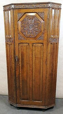 Good Quality Canted Oak Hall Wardrobe With Carved Decoration