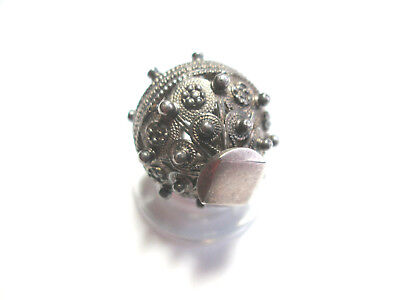 RARE Extraordinary Lg DALMATIAN/BALKAN SILVER PEASANT BUTTON c. early 19th cent.