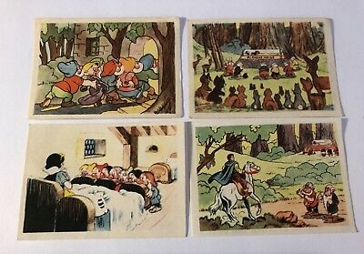 4 Vintage 1939/40 SNOW WHITE DeBeukelaer Trading Cards with the Dwarfs & Prince