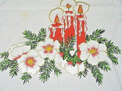 "Vintage  Christmas Tablecloth~~Table~~ Topper~30"" X 31""~~~"