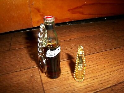 2 Coca Cola Key Chains - 1 Gold Metal - 1 Glass Bottle with Coke